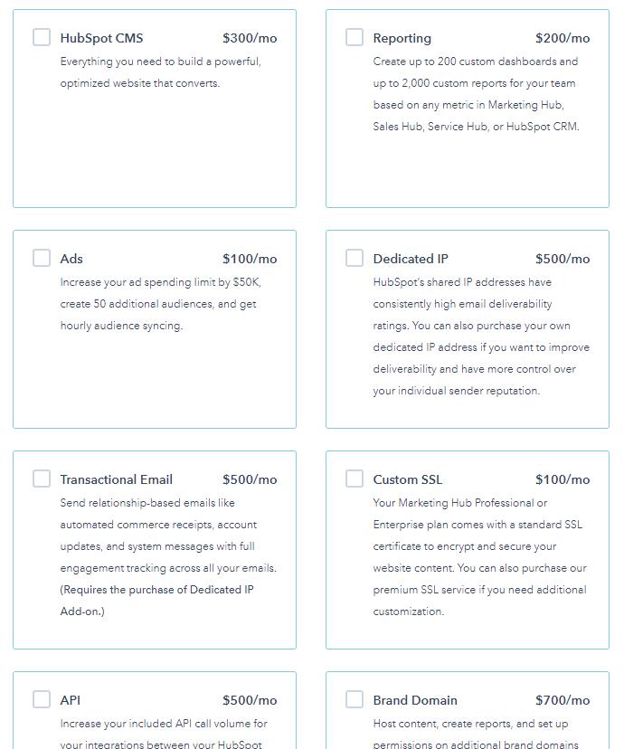 HubSpot software pricing